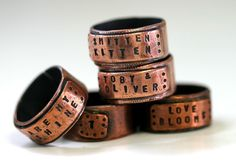 Great Father's Day Gift. Large Copper Wide Band Ring Personalized by Monkeys Always Look monkeysalwayslook