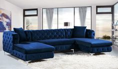 Meridian Furniture Gail Blue Velvet double chaise sectional sofa Bring fine living to the Living Room Sofa Design, Living Room Furniture, Living Room Decor, Sectional Furniture, Sectional Sofas, Apartment Furniture, Cheap Furniture, Discount Furniture, Furniture Design
