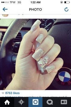 Caramel nude nails with bling