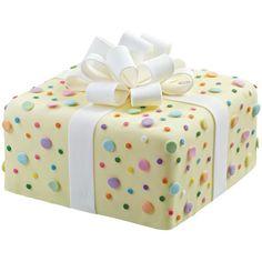 Dazzling Dots Cake via Wilton Cakes Present Cake, Gift Cake, Pretty Cakes, Beautiful Cakes, Polka Dot Cakes, Polka Dots, Cupcakes Decorados, Wilton Cake Decorating, Wilton Cakes