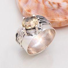 925 STERLING SILVER EXCLUSIVE CITRINE CUT RING 5.57g DJR4631 #Handmade #Ring