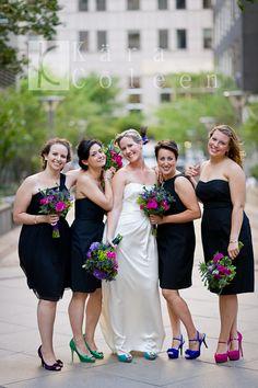 Black bridesmaids dresses by J. Crew - Wedding Bridal Party with Vintage Bouquets - www.karacoleen.com