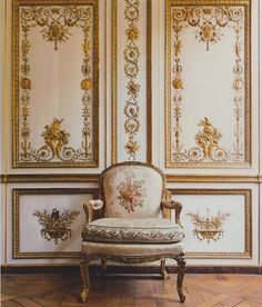 This antique French Louis XV armchair is exquisite in its fine upholstery,condition & its placement in front of gilded panel walls.