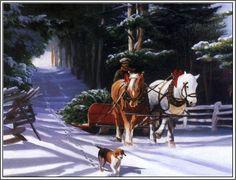 4 Country Christmas Tree Cards Holiday Season's Greetings Santa Claus Christmas Art  Holiday Greeting Notecards/ Envelopes Set. $6.99, via Etsy.