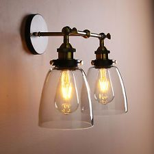 Wall Lamps, Wall Sconces, Indoor Wall Lights, Industrial Wall Lights, Wisteria, Vintage Industrial, Glass Shades, Kitchen Ideas, Retro Vintage