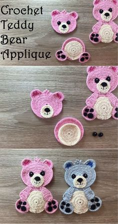 Crochet mural ours en peluche - Crafting Time Crochet Teddy Bear Applique Crochet mural ours en peluche Crochet Applique Patterns Free, Crochet Animal Patterns, Crochet Motif, Diy Crochet, Crochet Crafts, Crochet Animals, Crochet Projects, Crochet Edgings, Simple Crochet