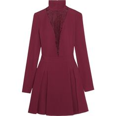 Just Cavalli Cotton-blend lace-paneled cady mini dress (£311) ❤ liked on Polyvore featuring dresses, claret, mini dress, short fitted dresses, plum dress, pleated mini dress and plum purple dress