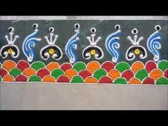 easy border rangoli design - K99 - YouTube