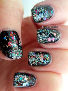 Birthday glitter nail art.