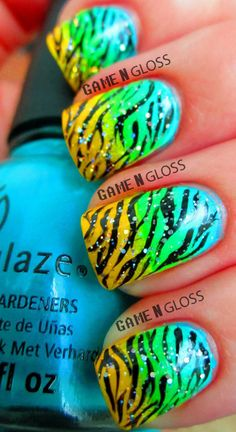 Cool summer neon nail design. Zebra print. Gradient and holographic glitter. IG gamengloss FB GAME N GLOSS.