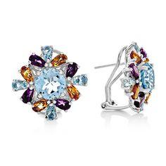 8.20 Carat Genuine Multi-Color Gemstone Earrings in Sterling Silver