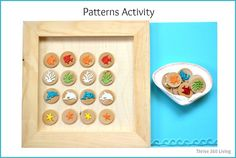 A simple DIY game for teaching patterns and sorting. Only takes 5 minutes to make!