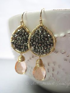 healing crystal birthstone bohemian tribal gypsy Jewelry Boho woven earrings with smokey quartz gemstone spiritual amulet for yogi