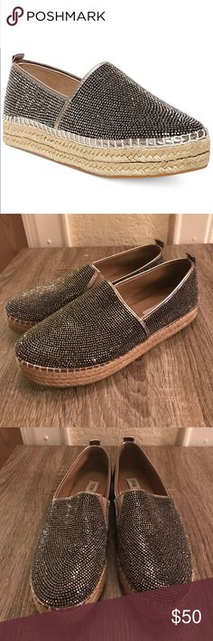 • STEVE MADDEN • Chopur-R rhinestone espadrilles Very gently worn Steve Madden Chopur-R rhinestone embellished espadrilles. Size 6.5. Excellent condition- as seen in photos. Only worn twice. So comfortable & just the right amount of flashy! Cute addition to any outfit! Remember to bundle & save 15%!  Open to reasonable offers! Steve Madden Shoes Espadrilles