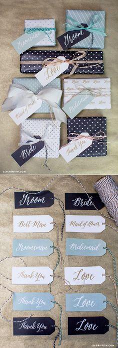#diywedding #weddingpartygifts #gifttags #weddinggifttags www.LiaGriffith.com