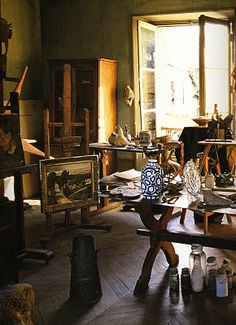 André Derain's studio in Chambourcy, France as he left it in 1954. s scanned from Artist's Houses by Gerard-Georges Lemaire
