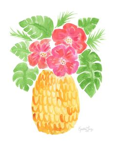 Pinapple Painting, Pineapple Drawing, Pineapple Art, Cute Pineapple Wallpaper, Watercolor Flowers, Watercolor Art, Tropical Art, Diy Canvas Art, Summer Art