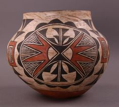 Native American Acoma Poly chrome pottery 245. Description: Native American Poly chrome Pottery Olla, Acoma, ca. early 19th Century, Native American, with concave base, high rounded shoulder, and tape
