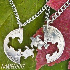 Turtle Interlocking Halves Quarter hand cut coin by NameCoins from Branson. Saved to etsy. Bff Necklaces, Friendship Necklaces, Gifts For Husband, Gifts For Friends, Cute Turtles, Sea Turtles, Baby Turtles, Turtle Necklace, Sea Turtle Jewelry