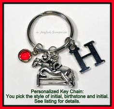 Horse Keychain, Equestrian Silver Jewelry, Horse Keyring Gift, Horse jumping fence Charm Pendant Monogram Personalized Initial Birthstone 44  A personal favorite from my Etsy shop https://www.etsy.com/ca/listing/265799822/horse-keychain-equestrian-silver-jewelry