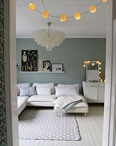 #livingroom tikkurila serpentiini Bedroom Green, Dream Bedroom, Grey Painted Walls, Living Spaces, Living Rooms, Wall Colors, Color Inspiration, Family Room, New Homes