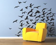 Flock of birds vinyl wall stickers -- from UrbanWalls on Etsy. Going to do this bit in white for the girls room.