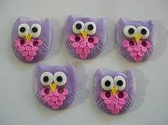 fimo button owl can do this in any color:) would love them in boy colors!