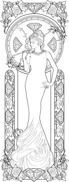 Free Alphonse Mucha Coloring Pages Alphonse Mucha Coloring Pages Audrey Hepburn By Azael Mucha Alphonse Coloring Free Pages Coloring Book Pages, Printable Coloring Pages, Coloring Sheets, Alphonse Mucha, Art Nouveau, Tattoo Painting, Tachisme, Colorful Pictures, Line Art