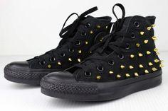 Hey, I found this really awesome Etsy listing at https://www.etsy.com/listing/123404286/gold-spiked-black-converse-high-tops