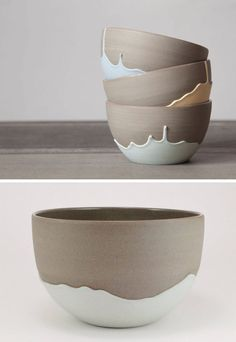 Celine Fafard Of Parceline has a collection of stoneware with unique t . Celine Fafard Of Parceline has created a collection of stoneware with unique drip patterns – # Pottery Bowls, Ceramic Pottery, Pottery Art, Slab Pottery, Ceramic Decor, Modern Ceramics, Contemporary Ceramics, Pottery Painting, Ceramic Painting