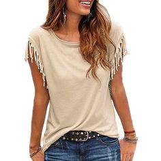 d3834e010a1603  gt  gt  Click to Buy  lt  lt  Women Blouses Tassel Casual Shirt