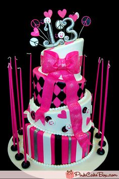 Hot Pink Bat Mitzvah Cake