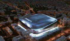 El nuevo Bernabéu iluminado