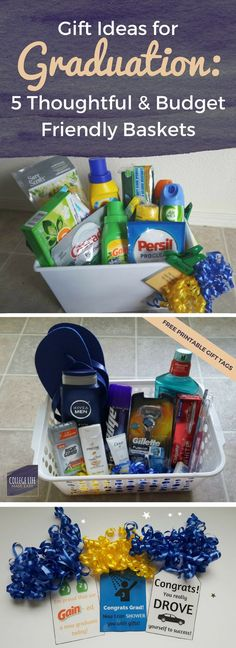 High School College Graduation Gift Basket Ideas For Girls For Guys For Her For Him How to Make DIY Free Printable Printables Gift Tags Budget Friendly via esycollege. Cheap Graduation Gifts, High School Graduation Gifts, Graduation Diy, Graduation Gift Baskets, Graduation Parties, Graduation Presents, Boyfriend Graduation Gift, College Boyfriend, Graduation Celebration