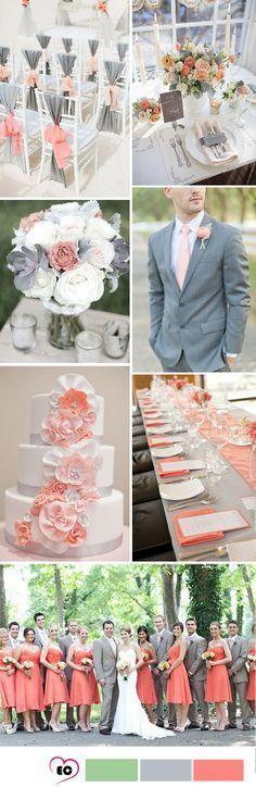 Coral and grey wedding idea