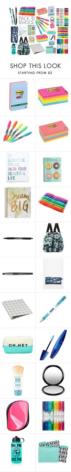 """school supplies"" by inksty ❤ liked on Polyvore featuring interior, interiors, interior design, home, home decor, interior decorating, Post-It, Sharpie, Forever 21 and BIC"
