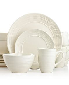 thomson pottery ripple white 16pc set service for 4 white