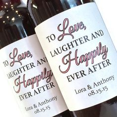 Pinhole press want to do this with our wedding wine and a wedding bridal shower or wedding favor mini wine labels love laughter and happily ever after mini wine or champagne bottle labels solutioingenieria Choice Image