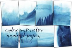 Ad: Ombre Watercolor Papers by swiejko on Watercolor Digital Paper Ombre Watercolor Background - marine style Set of 8 nautical handpainted digital papers, ideal for printing or Watercolor Paper Texture, Watercolor Background, Watercolor And Ink, Ombre Background, Brush Background, Scrapbooking, Scrapbook Paper, Photoshop Design, Photoshop Texture