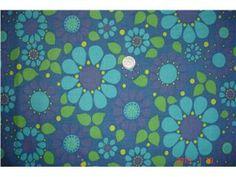 TYG med blommor i blått/turkost/grönt/lila RETRO på Tradera.com - Tyger