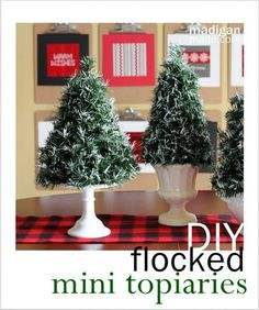 DIY Flocked Mini Topiaries: 100 Days of Homemade Holiday Inspiration on HoosierHomemade.com #100Days, #Holidays, #Crafts