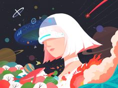 VR Illustration designed by Cyril Chan for Top Pick Studio. Astronaut Illustration, Space Illustration, Business Illustration, People Illustration, Watercolor Illustration, Digital Illustration, Illustrations, Android Art, Android Design