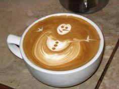 snowman in coffee.