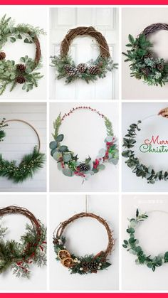 Homemade Christmas Wreaths, Xmas Wreaths, Christmas Crafts For Gifts, Christmas Table Decorations, Diy Christmas Ornaments, Christmas Holidays, Floral Hoops, Wreath Crafts, Dried Flowers