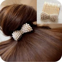 Cute Exquisite Pearl Bow Hair Comb