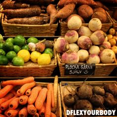 Citrus fruit and vegetables at Hotorgshallarna in Stockholm, Sweden.