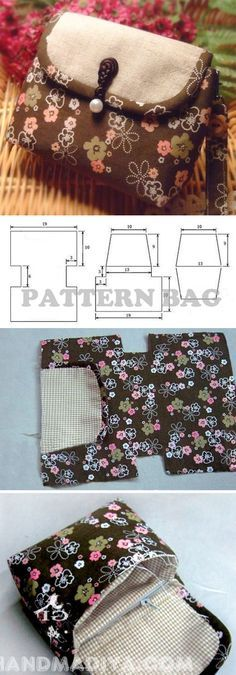 Sew a compact bag. DIY tutorial with patterns. http://www.handmadiya.com/2014/06/sew-compact-bag-diy-tutorial-with.html