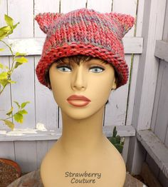 Pink Cat Hat Pink Cat Beanie Hat Knitted Hat Womens Hat CAT EARS Hat Knitted Cat Hat Pomegranate Pink Hat Knitted Beanie Hat Women by strawberrycouture by #strawberrycouture on #Etsy