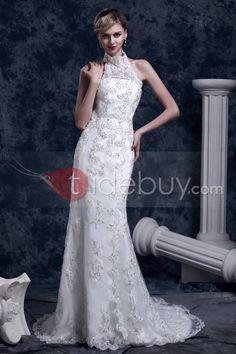 豪華トランペット/マーメイドハイネックチャペルダーシャレースウェディングドレス(3AC0061)