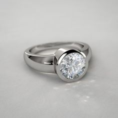 Bezel Set Round Diamond Engagement Ring in 14k White Gold